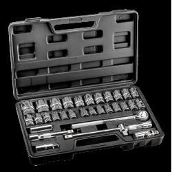 Klucze nasadowe CrV zestaw 32 szt.